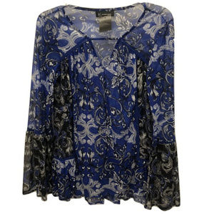 INC Floral Bell Sleeve Sheer Blouse, Size S